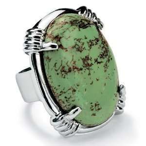 PalmBeach Jewelry Silver Tone Oval Shaped Turquoise Ring