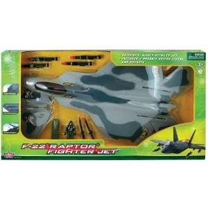 F22 Raptor Fighter Jet Playset (24L, 11W): Toys & Games