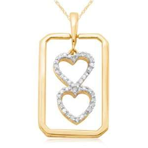10k Yellow Gold Framed Double Heart Pendant (1/10 cttw, I J Color, I3