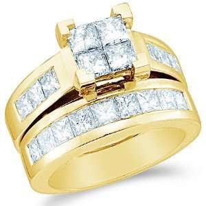 Stones Channel Set Large Princess Cut Diamond Ring (3.0 cttw) Jewelry