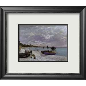 La plage a Sainte Adresse Framed Art Poster Print by Claude Monet