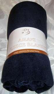 + HEAVY Navy Blue Fleece Throw Blanket 50x60 Soft Warm Amani