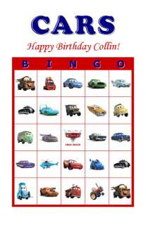 Disney Pixar Cars Birthday Party Game Bingo Cards
