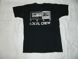 1990 SCORPIONS LOCAL CREW CRAZY WORLD TOUR VTG T SHIRT