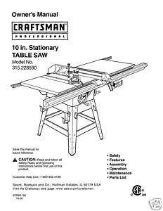 Craftsman Table Saw Manual Model # 315.228590