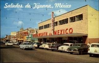 TIJUANA MEXICO Street Scene Vintage Cars WOOLWORTHS Old Postcard