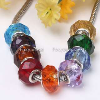 100*BULK MIX FACETED CRYSTAL GLASS LOOSE BEAD FIT CHARM