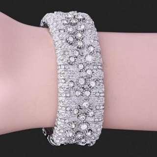 Swarovski Crystal white gold GP hinged Bracelet SZ528