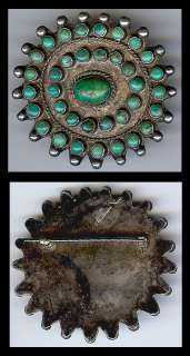 VINTAGE BEAUTY ZUNI INDIAN STERLING SILVER MULTI TURQUOISE PIN