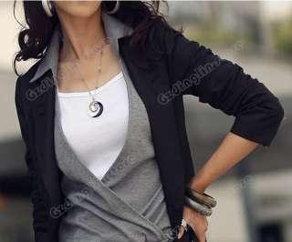 Womens Casual Lapel Opening Neck Long Sleeve Dress #089