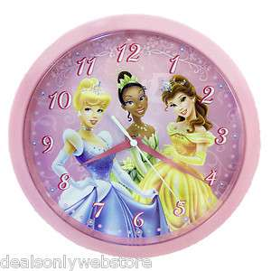 NEW Disney Princess Cinderella Tiana Belle Kids Wall Clock 10