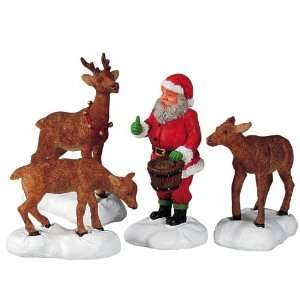 Christmas Village Collection Santa Feeds Reindeer 4 Piece Set #52146