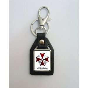 Resident Evil Umbrella Corp Leather Keychain Key Ring