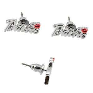 Nicki Minaj Barbie Silver Tone Red Lip Stud Earrings