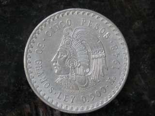 1947 1948 Cinco Pesos Cuauhtemoc 0.900 oz of Silver $5 Mexican Sliver