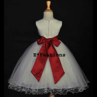 IVORY CHRISTMAS HOLIDAY APPLE RED CHILDRENS FLOWER GIRL DRESS 12M 18M