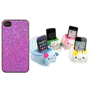 Purple Bling Diamond Gem Hard Case Skin Cover+Phone Holder for Apple