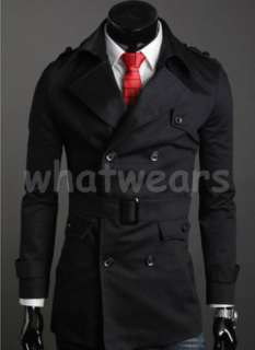 Mens New Style Collar Double Breasted Trench Coat Black 3 Size Z1290