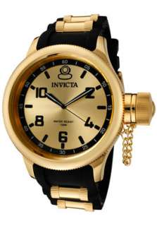 Invicta Mens 1438 Russian Diver Yellow Gold Plated Goldtone Dial Watch