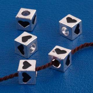 15X TIBETAN SILVER SQUARE DICE HEART SPACER CHARM BEADS