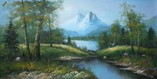 PANORAMIC MOUNTAIN VIEW OF THE ALPS 24X48 OIL PAINTING ORIGINAL