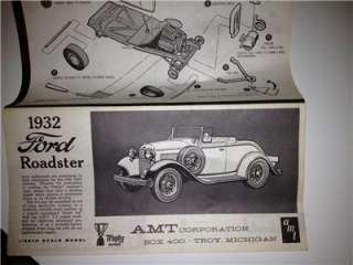 VINTAGE AMT 1932 FORD ROADSTER MODEL KIT BOX 400 NEVER BUILT DECALS