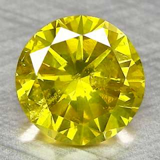 58cts,5.3mm Round Vivid Yellow Natural Loose Diamond