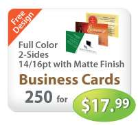 250 Business Cards UV 2 sided & Free Custom Design