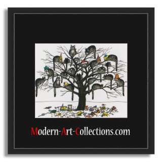 16x16 B.Kliban,   Cat Dreams   Mat Black FRAMED,   Cats Tree