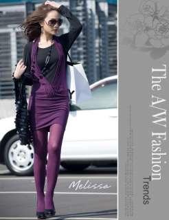 New Korea Womens Sexy Purple V Neck 2 Pcs Sweater Dress