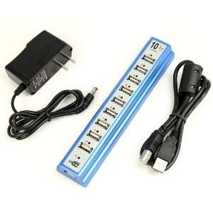 New 10 PORTS USB HUB 2.0 High Speed with Power Adapter