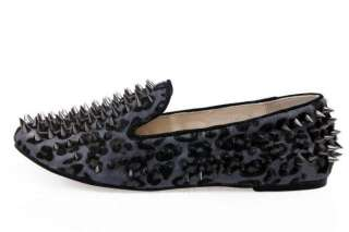 New Fashion Women Spike Punk Studded rivet Loafer flat shoes real