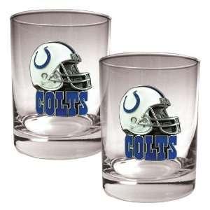 Indianapolis Colts NFL 2pc Rocks Glass Set   Helmet logo