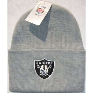 Oakland Raiders NFL Long Beanie Knit Cap Hat Light Grey