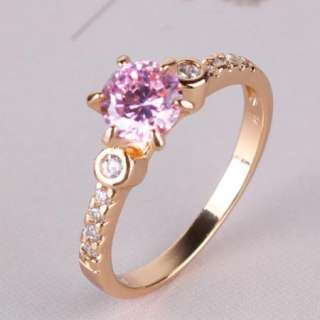Luxury 18K gold filled round pink sapphire crystal band women ring Sz6