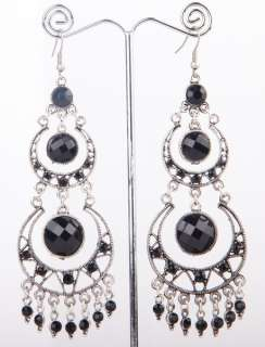 Credible Tibet Silver Swarovski clear Crystal Dangle Earring size