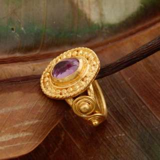 DESIGNER ANCIENT ROMAN STYLE 24K SOLID YELLOW GOLD AMETHYST RING BY