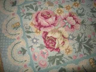 Rug, Pink Roses w/Powder Blue & Pastels, Shabby Chic, 25x37