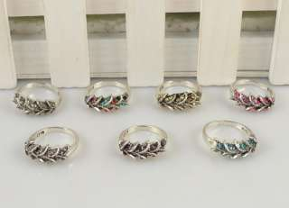 WHOLESALE LOT 10 PCS VINTAGE SILVER PLATED COCKTAIL LEAF CRYSTAL RING