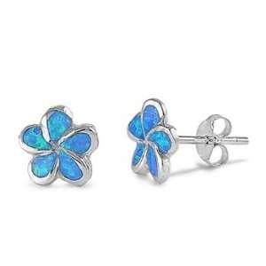 Sterling Silver Blue Opal Star Flower Earrings Jewelry