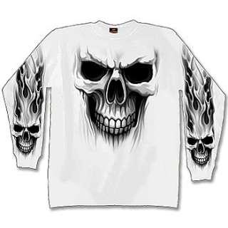 NEW NWT Ghost Skull Tribal Flames Long Sleeve T Shirt