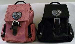 Leather HEART Pattern BACKPACK Purse in PINK or BLACK Carry 2 Ways