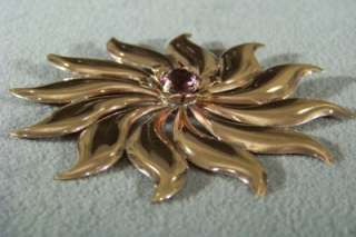 WOW ANTIQUE ROSE GOLD TONE RHINESTONE HUGE PIN BROOCH