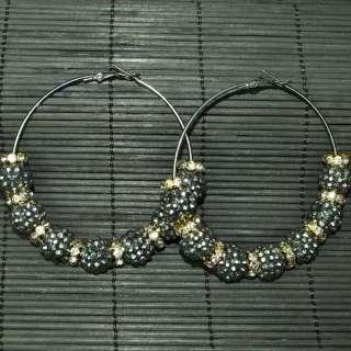 NEW Bling Hoops Rhinestone Basketball Wives Earrings+Gift Box