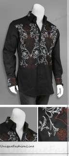 Stylish Casual fashion Dress Shirt Black M L XL 2XL 3XL 4XL 307
