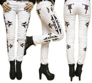 womens ladies funky EMBROIDERED skinny jeans WHITE 26 27 28 29 30 UK 6