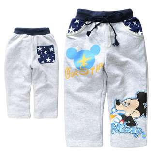 New Light Gray Baby Kids Boys Mickey Mouse Pants 10037GY