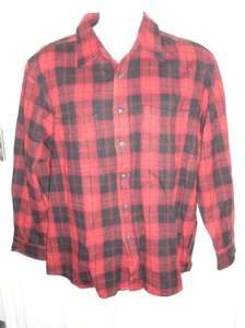SMITHS WORKWEAR MENS RED & BLACK PLAID FLANNEL SHIRT SIZE LARGE NWOT