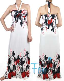 T29 WHITE RED BUTTERFLY STRAPLESS MAXI DRESS NEW XS 2X