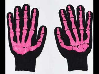 Misfit Pink Skeleton Bones Black Work Gloves Goth Horror PUNK
